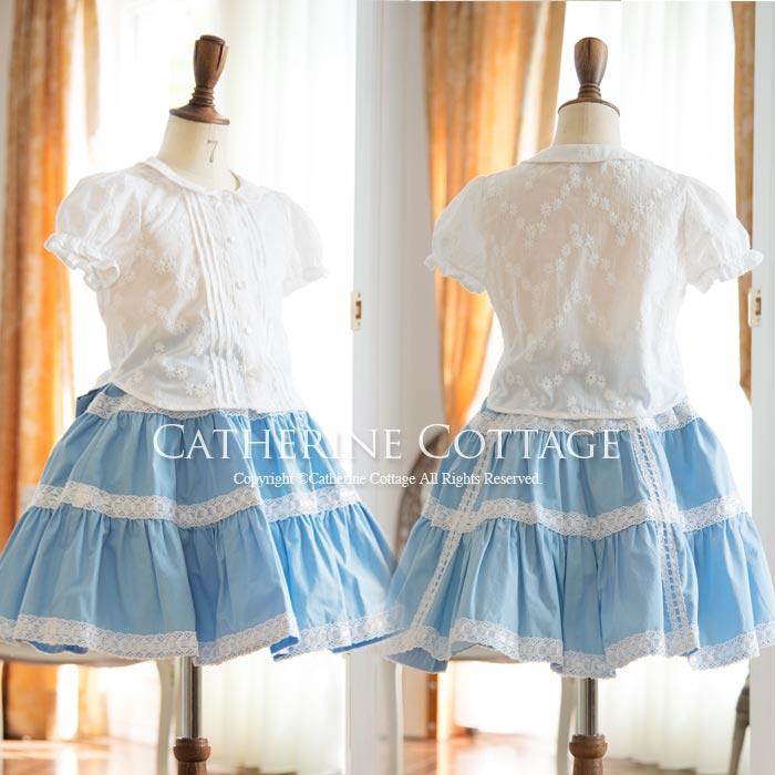 丸襟フリルスムースカットソーブラウス ドレスやワンピースに合わせて♪ キッズ 子供 女の子 ガールズ フォーマル 入学式 卒業式 [白][おでかけ][法事][刺繍][フリル][ブラウス][卒入学]