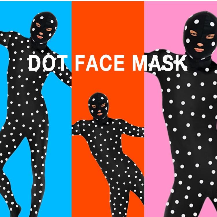ドット柄,覆面マスク,フェイスマスク,採寸スーツ,水玉,覆面,ハロウィン,コスプレ,マスクのみ,採寸スーツに,シール付き,自作キット,2018,おすすめ,