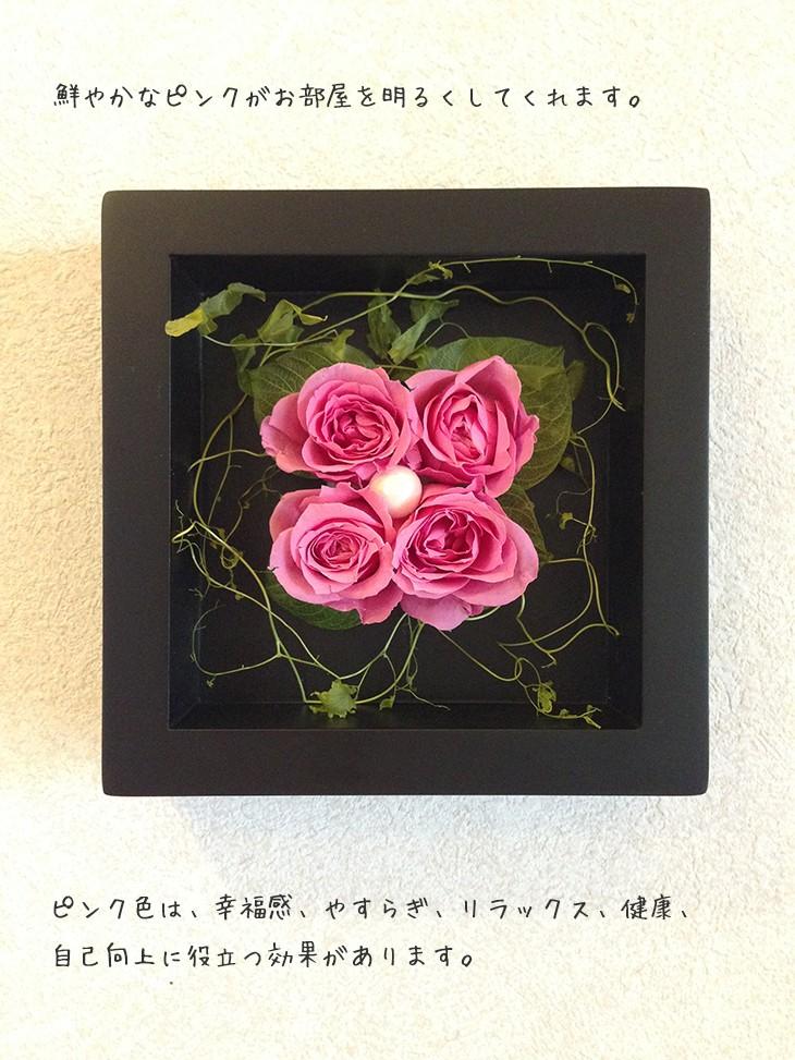 プリザーブドフラワーの壁掛けフレームピンクはお部屋のインテリアに、贈り物/送料無料 lpm0020 商品イメージ1