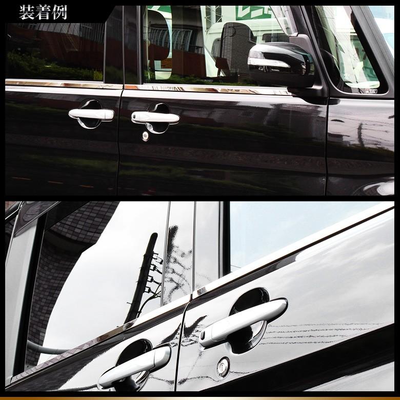【DAIHATSUタント/タントカスタム】ウィンドウ周り輝く!タント/タントカスタムLA600/610S専用ウェザーストリップモール新品1台フルセット 鏡面 サイドドア-装着例2